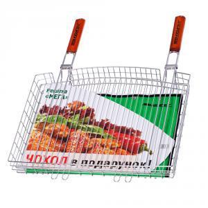 Фото Решетки для гриля Двойная хромированная решетка-корзина для гриля с двумя ручками МЕГА S-103