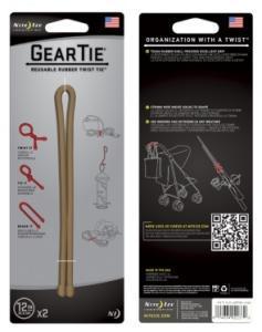Фото Tуристичні аксесуари Фиксатор гибкий Gear Tie 12'' - Coyote Brown 2pk коричневый