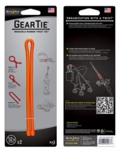 Фото Tуристические аксессуары Фиксатор гибкий Gear Tie 12'' - Bright Orange 2pk оранжевый
